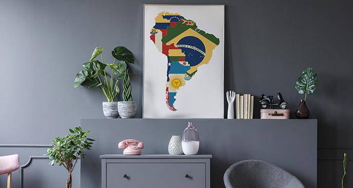 Plakat kontynenty: flagi Ameryki