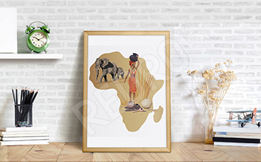Plakat kontynenty: życie w Afryce
