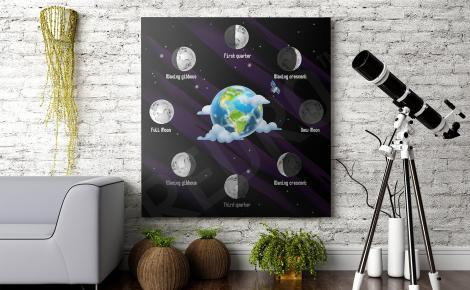 Plakat kosmos fazy Księżyca