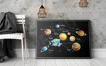 Plakat kosmos nazwy planet