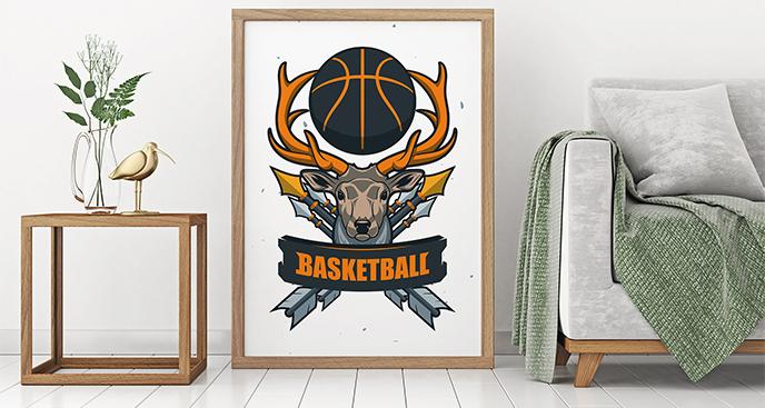 Plakat koszykówka z jeleniem