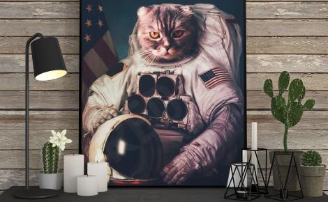 Plakat kot astronauta
