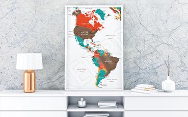 Plakat kraje obu Ameryk