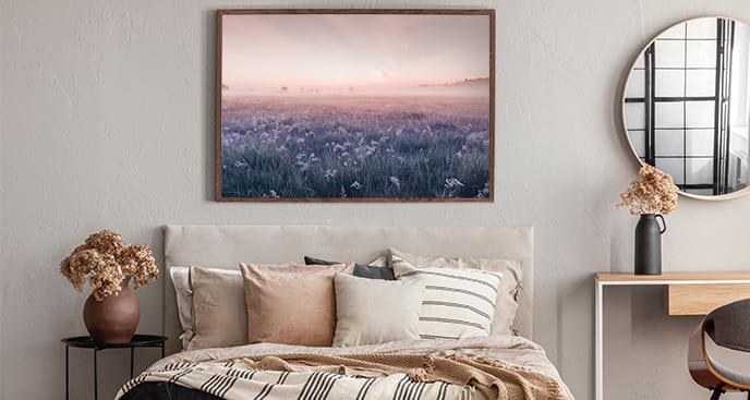 Plakat krajobraz łąki o poranku