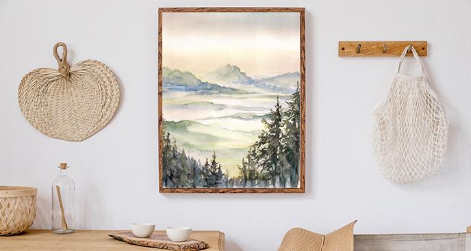 Plakat krajobraz w akwareli