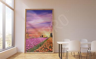Plakat krajobraz z kwiatami
