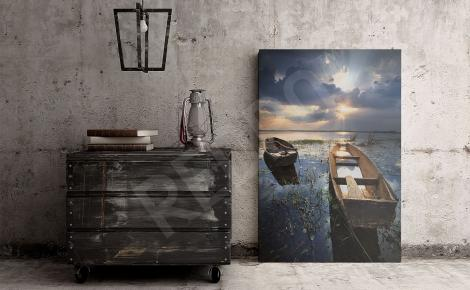 Plakat krajobraz z łódką