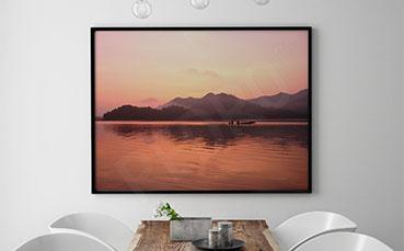 Plakat krajobraz z taflą jeziora