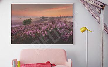 Plakat krajobraz z wrzosami