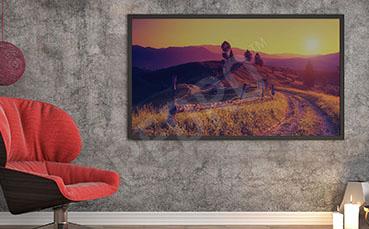 Plakat krajobraz z zachodem słońca