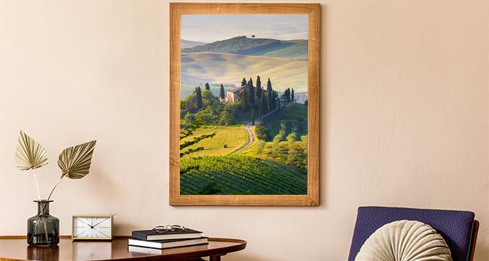 Plakat krajobraz z zieloną doliną