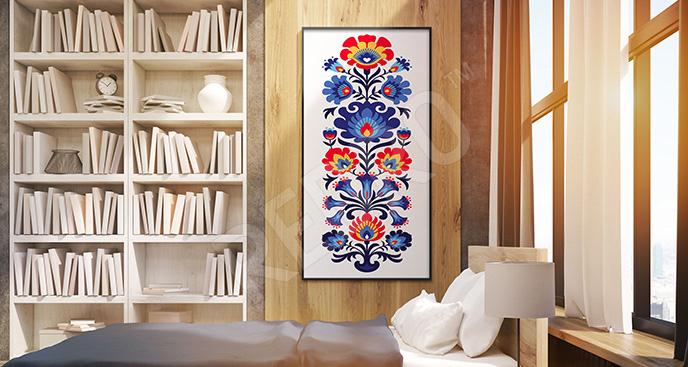 Plakat kwiaty folk do sypialni