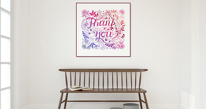 Plakat kwiaty i napis