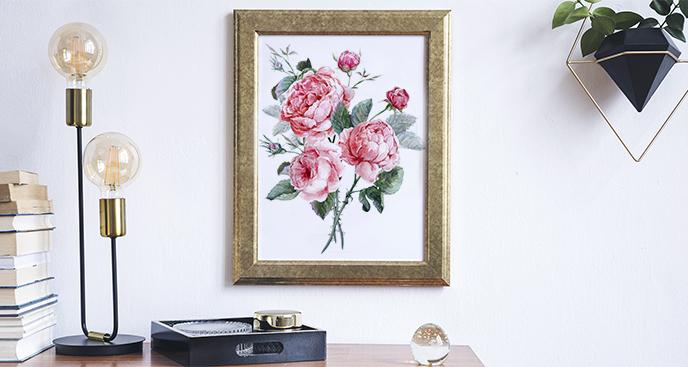 Plakat kwiaty w stylu vintage