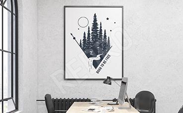Plakat las w stylu skandynawskim