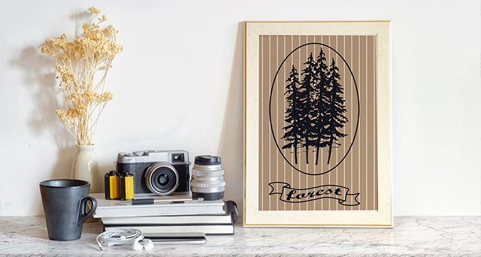 Plakat las w stylu vintage