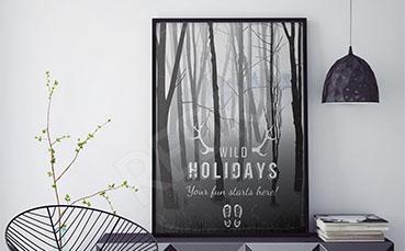 Plakat leśny widok