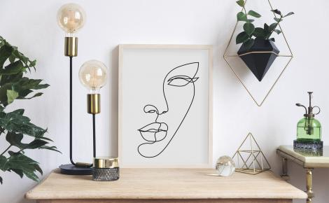 Plakat line art - kobieca twarz