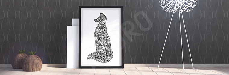 Plakat lis czarno-biały