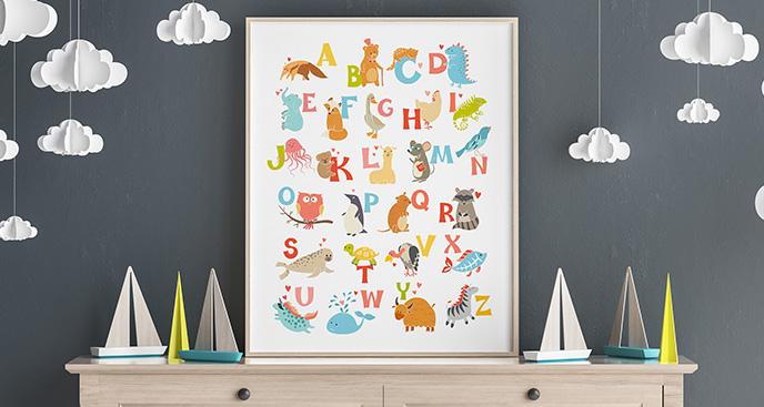 Plakat litery do nauki angielskiego