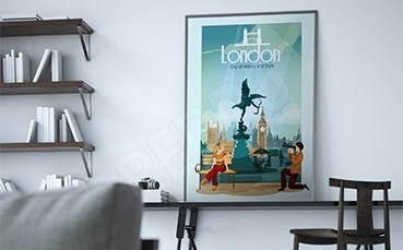 Plakat Londyn znane miejsca