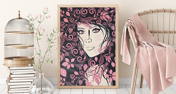 Plakat ludzie: dziewczyna i kwiaty
