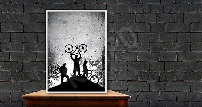 Plakat ludzie na rowerach