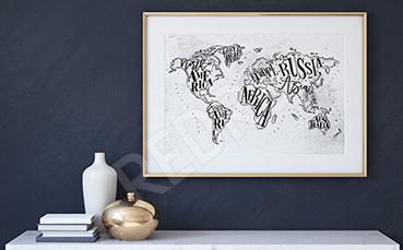 Plakat mapa kontynentów