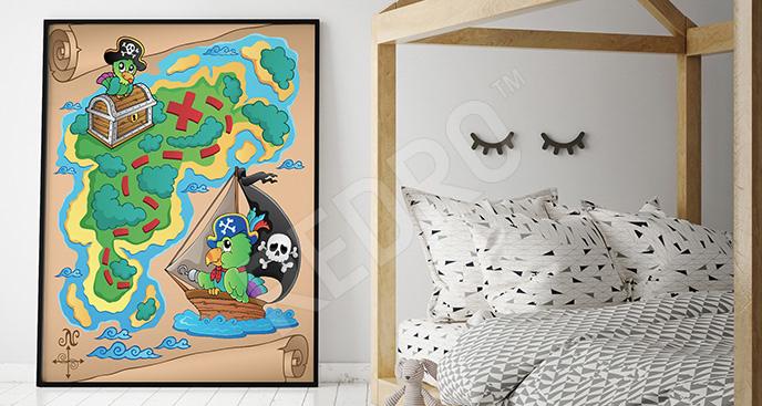 Plakat mapa piratów dla dziecka