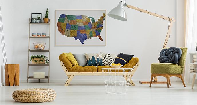 Plakat mapa Stanów Zjednoczonych