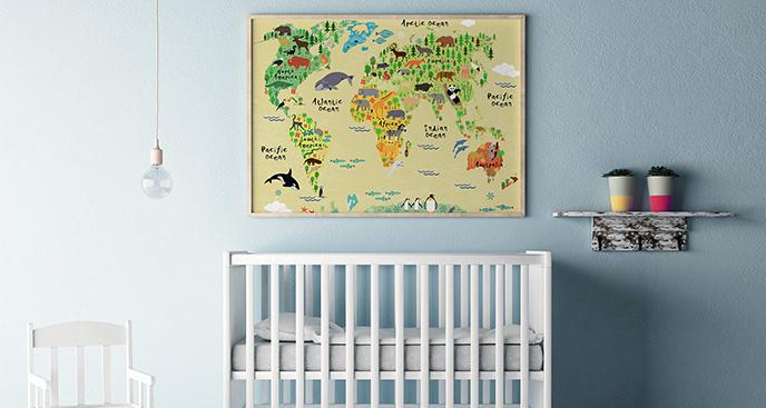 Plakat mapa świata dla dzieci