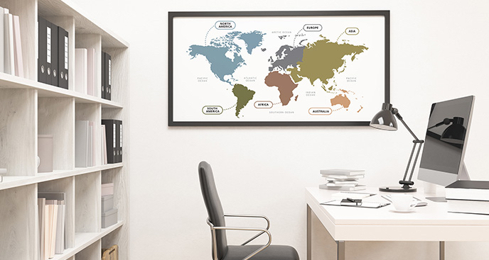 Plakat mapa świata do biura