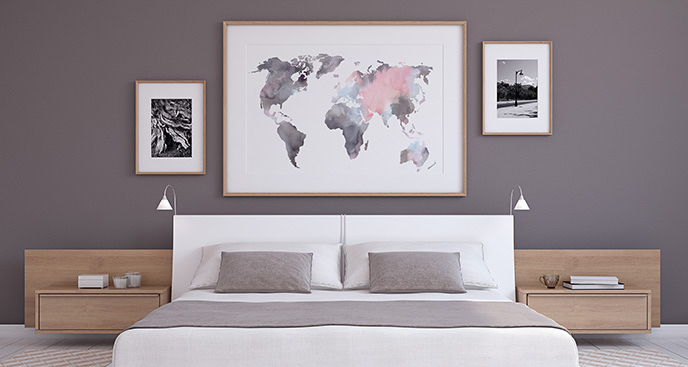 Plakat mapa świata do sypialni