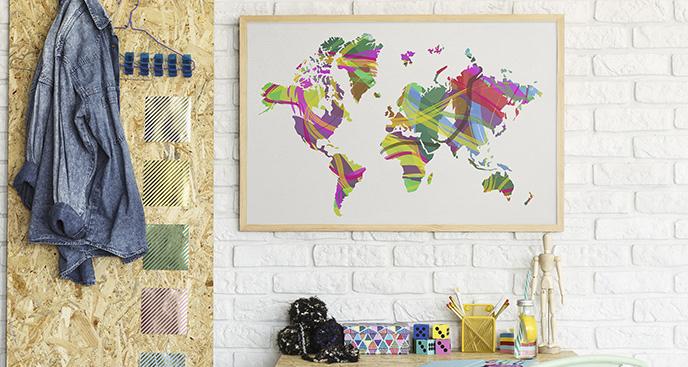 Plakat mapa świata kolorowa