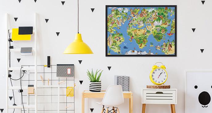 Plakat mapa świata obrazkowa