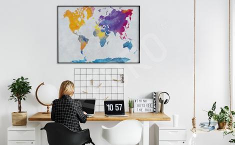 Plakat mapa świata w akwareli