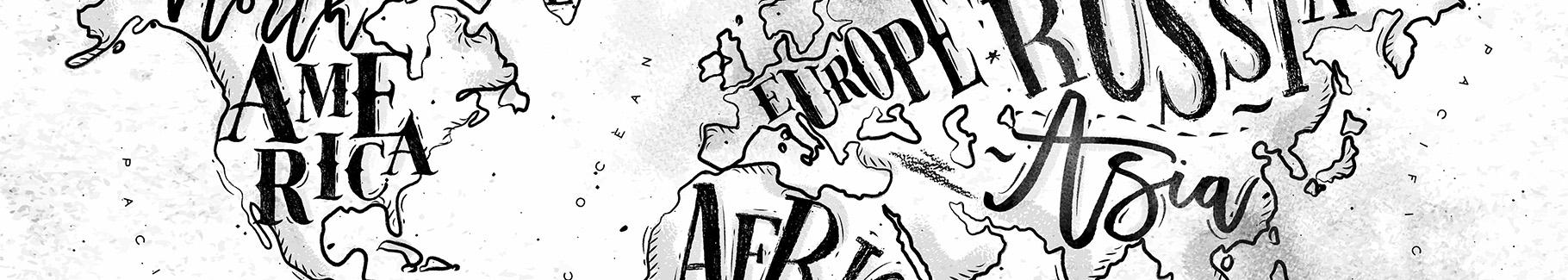 Plakat mapa świata w czerni i bieli
