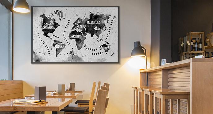 Plakat mapa świata w stylu retro