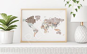 Plakat mapa świata z państwami
