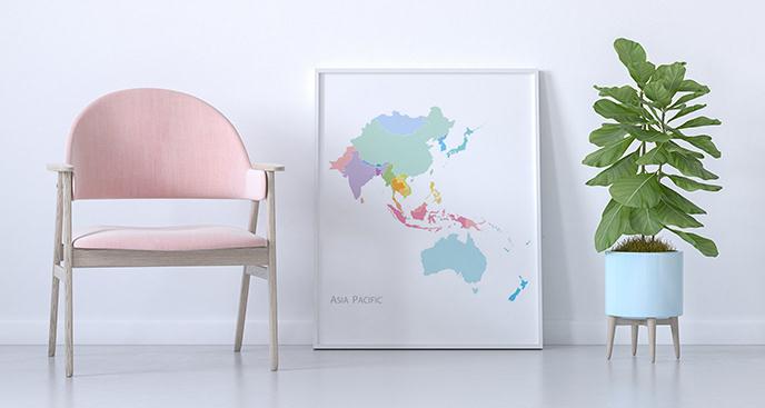 Plakat mapa w pastelach