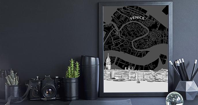 Plakat mapa Wenecji