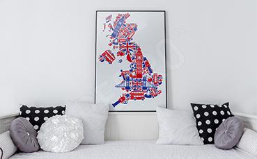 Plakat mapa Wielkiej Brytanii