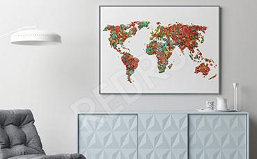 Plakat mapa z kolorowych cegiełek