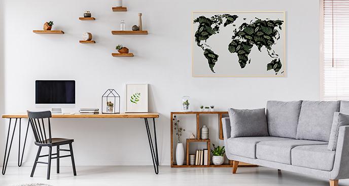 Plakat mapa z liśćmi
