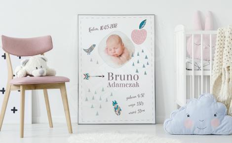 Plakat metryczka urodzenia ze zdjęciem