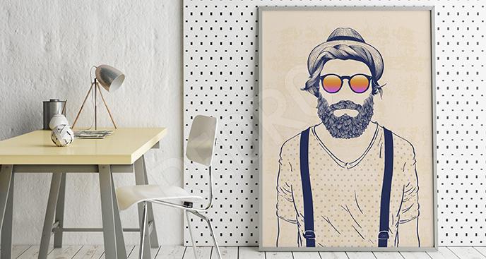 Plakat mężczyzna w okularach