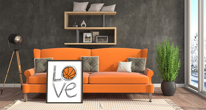 Plakat miłość do koszykówki