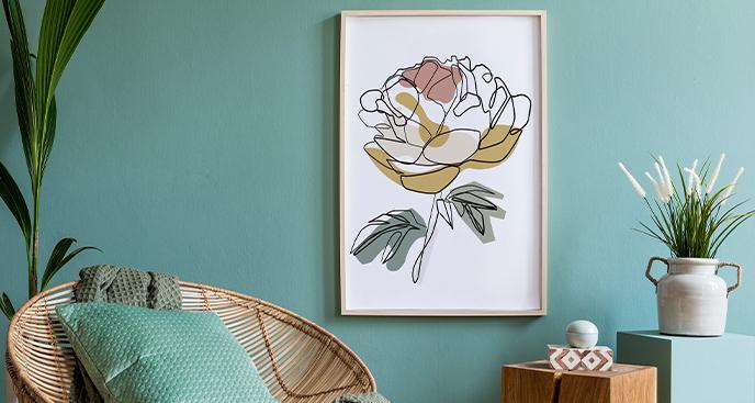 Plakat minimalistyczny z różą