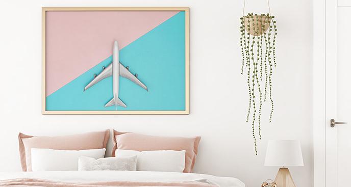 Plakat minimalistyczny z samolotem