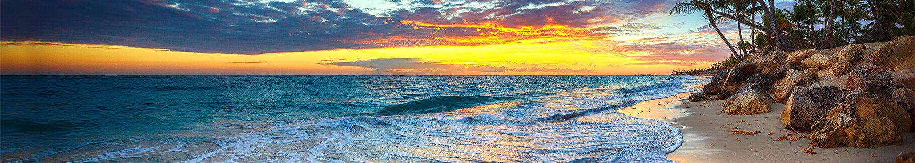 Plakat morze i zachodzące słońce